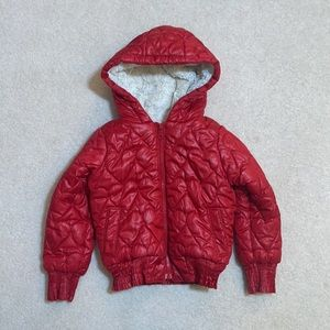 Old Navy Red heart quilted fur lined puffer coat 5